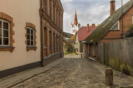 Street with residential houses in the old town of Cesis Stock fotó