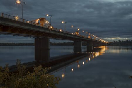 South bridge in Riga over the Daugava river at night. Archivio Fotografico