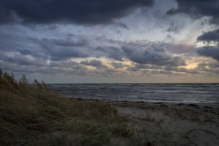 Storm clouds, storm Passing over Sea, dramatic clouds after storm coast line Archivio Fotografico