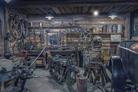 Interior of an old workshop, small garage equipment