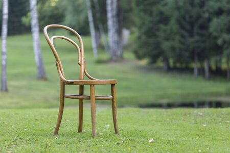 Antique Bentwood chair. Vintage furniture in the Outdoors