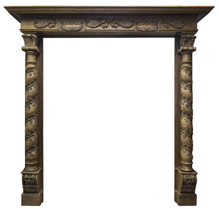 Large Size Oak Wood fireplace portal isolated on white background. Archivio Fotografico - 138026673