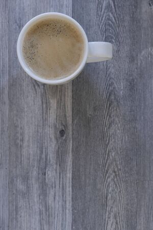 Coffee cup top view on grey wood table background with copy space Archivio Fotografico - 137783343