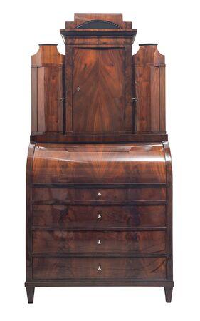 Antique mahogany wooden writing desk isolated on white background