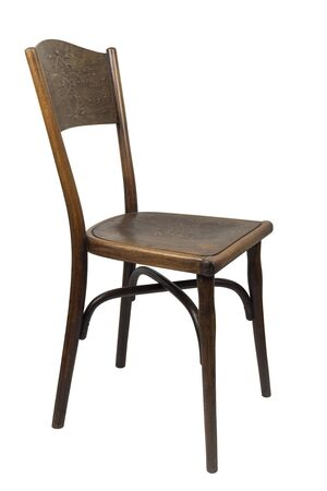 Antique Bentwood Viennese chair isolated on white. Archivio Fotografico - 138063086