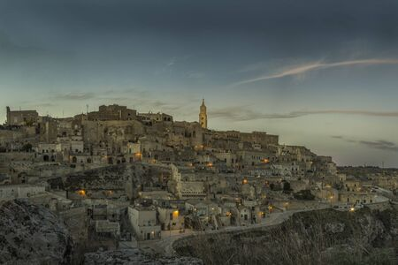 Ancient town of Matera, Sassi di Matera at night, Basilicata, southern Italy