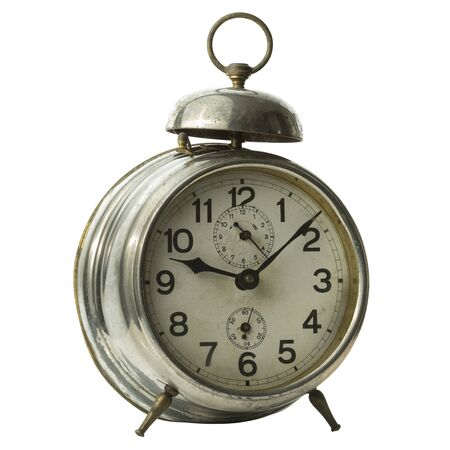 Beautiful vintage alarm clock isolated on white