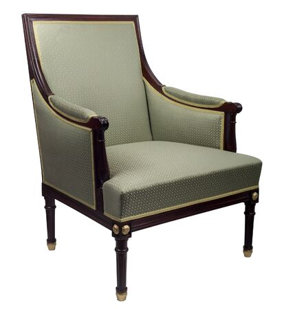 Vintage luxury green sofa Armchair with bronze castings isolated on white