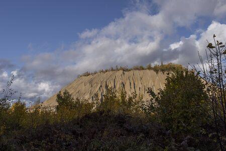 Mountain of white sand. A white mountain of white stones in Rummu Vasalema Estonia.