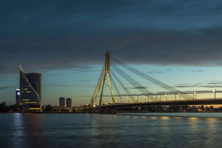 Cable stayed bridge across Daugava river in Riga, Latvia.