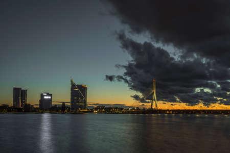 Cable stayed bridge across Daugava river in Riga, Latvia.