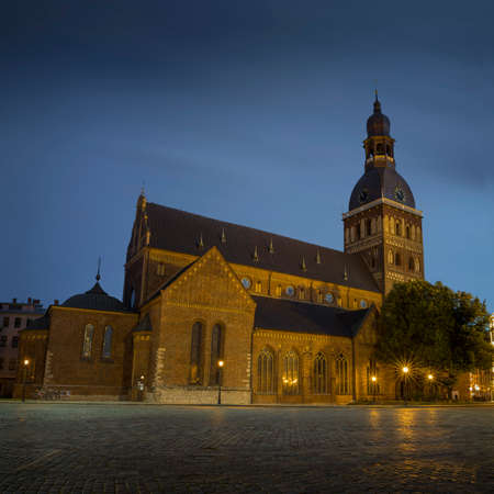 Riga Cathedral at Cathedral Square during evening blue hour, Doma laukums, Riga, Latvia.
