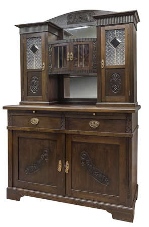 Old vintage cupboard with stained glass. Old wooden cabinet isolated on white
