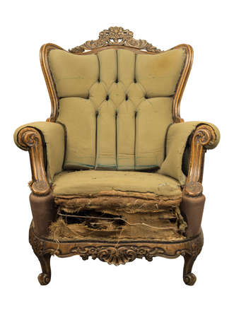 Vintage style . Defective old broken leather armchair on white background