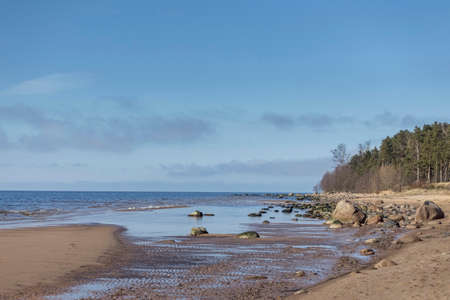 Beautiful, sea landscape in sunny, spring day. Latvia, Baltic Sea, Gulf of Riga Archivio Fotografico