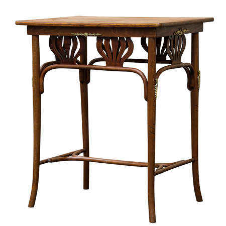 Antique bentwood coffee table made of beech wood isolated on white Banque d'images