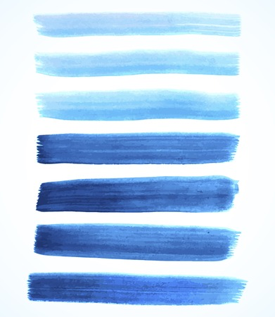 Set of blue watercolor brushes
