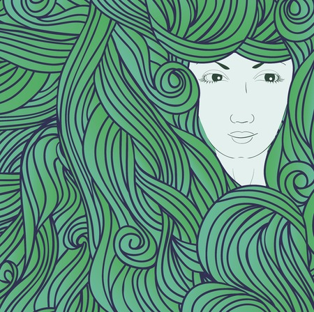 green hair: Abstract hand-drawn illustration with girl in waves. Green hair vector illustration. Illustration