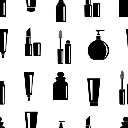 toiletries: Seamless pattern of toiletries icons. Hygiene and cosmetic icons background. Vector illustration.