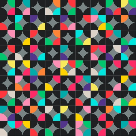 copied: Abstract geometric seamless pattern with multicolored circles. Vector illustration can be copied without any seams. Illustration