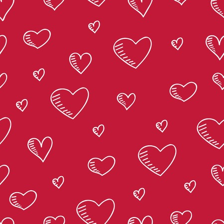 copied: Cute hand-drawn seamless pattern with hearts. Vector illustration can be copied without any seams. Illustration