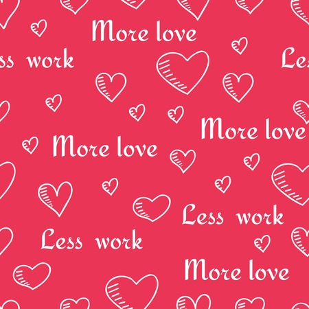 copied: Cute hand-drawn seamless pattern with hearts and slogans. Vector illustration can be copied without any seams.