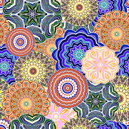 Ornamental seamless pattern, background with many details. Oriental colorful traditional ornament. Vector illustration. Vector