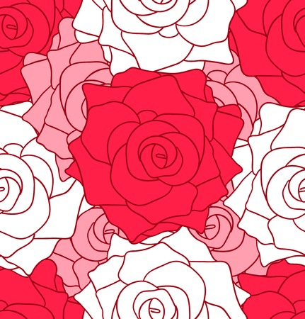 varicolored: Vector background with varicolored roses. Seamless flower pattern.