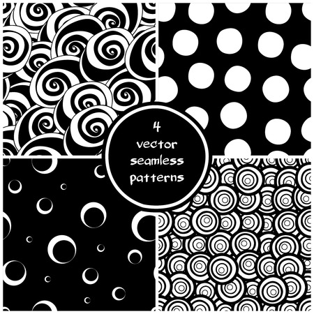combo: Set of four monochrome geometric patterns. Seamless pattern can be used for wallpaper, pattern fills, web page background,surface textures. Circles backgrounds combo. Vector illustration.