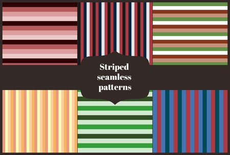 combo: Set of six striped patterns. Seamless pattern can be used for wallpaper, pattern fills, web page background,surface textures. Geometric backgrounds combo. Vector illustration.