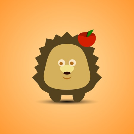 h�risson cartoon: H�risson mignon de bande dessin�e avec la pomme. Vector illustration.