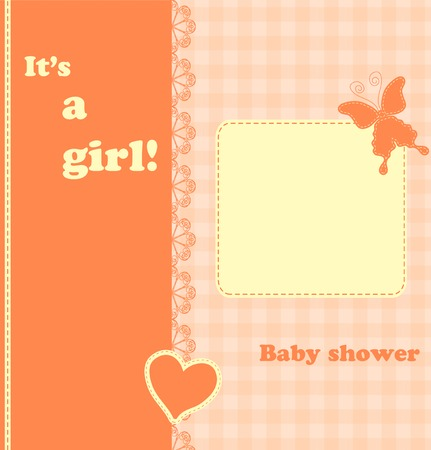 Baby girl shower card. Arrival card with place for your text. Vector illustration. Vector