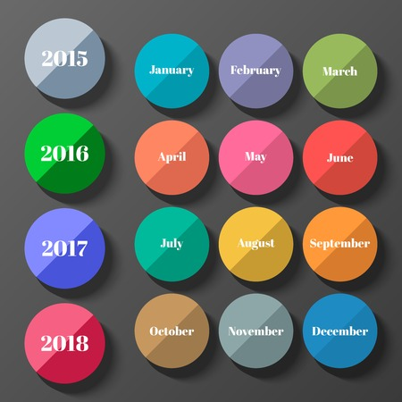 months: Flat dates icons set. Years and months icons. Vector illustration.