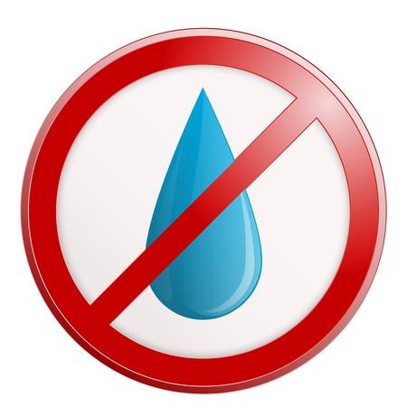 a public notice: No water sign. Vector illustration. Interior sign.
