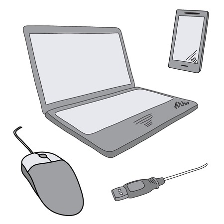 Technical illustration in doodle style. Sketch illustration of notebook and mobile.   Vector