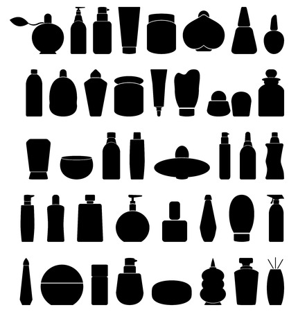 toiletries: Set of toiletries icons. Hygiene and cosmetic icons. Vector illustration. Illustration