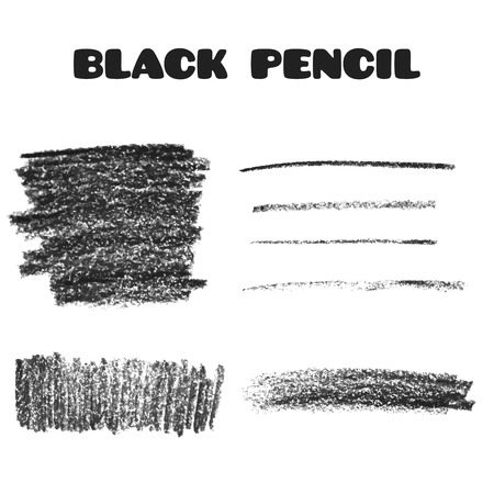 Set of pencil art objects. Sketch design. Black pencil texture. Grunge background. Vector illustration.