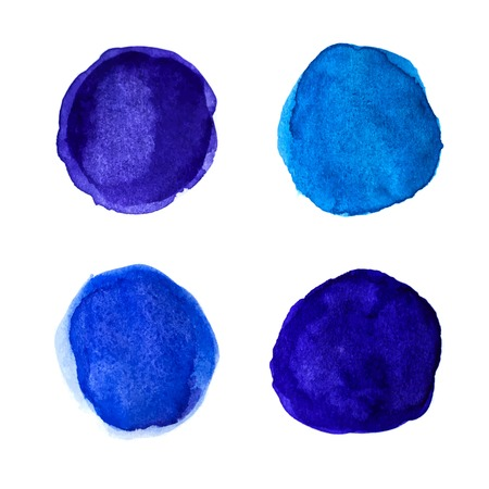 blue circle: Set of bright blue watercolor spots for your design. Vector illustration