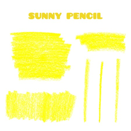 Set of pencil art objects. Sketch design. Yellow pencil texture. Grunge background. Vector illustration.