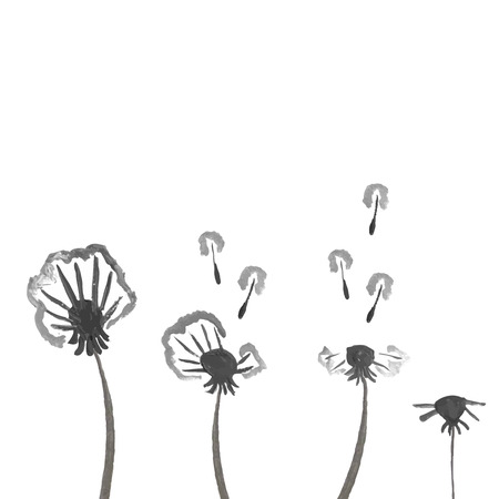 Watercolor dandelions. Abstract flower background Vector