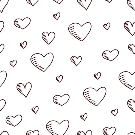 copied: Cute hand-drawn seamless pattern with hearts. Love theme. Vector illustration can be copied without any seams.