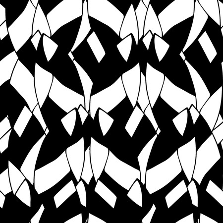 Cute hand drawn seamless pattern with unusual shapes. Geometric background in black and white colors. Monochrome texture. Vector illustration can be copied without any seams. Vector