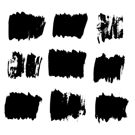 Black watercolor spots. Ink vector illustration. Design elements. Grunge background. Vector