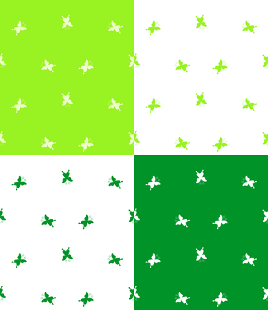 any: Set of 4 seamless patterns with butterflies. Cute backgrounds can be copied without any seams. Vector illustration in green and white colors. Nature theme. Illustration