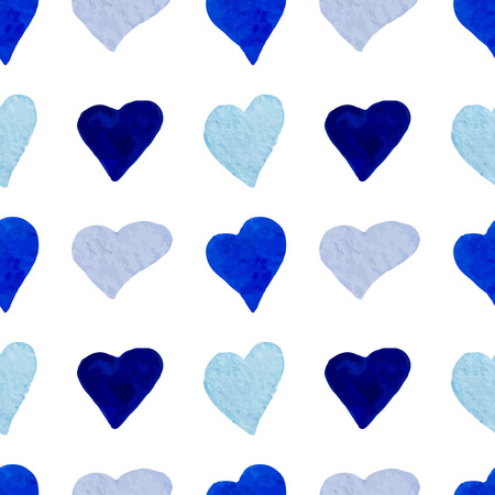 corazones azules: Acuarela corazones azules sin patr�n Vectores
