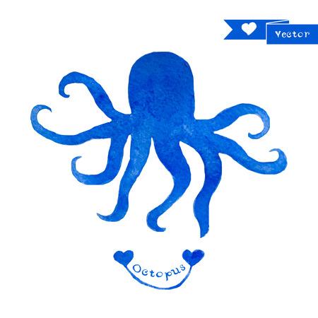 octopus: Blue octopus illustration. Watercolor octopus.