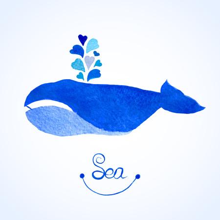 corazones azules: Ilustraci�n de la ballena azul. Acuarela fuente witn ballena de corazones azules. Vectores