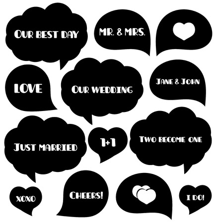 foto: Set of wedding bubbles for photo. Foto tags. Party supplies. Vector illustration.