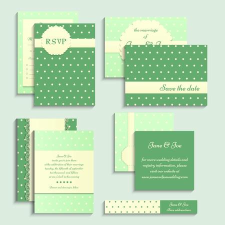 pattern pois: Set di carte da sposa stile vintage. Invito di nozze, carta di RSVP, etichetta sul modello a pois. Vettoriali