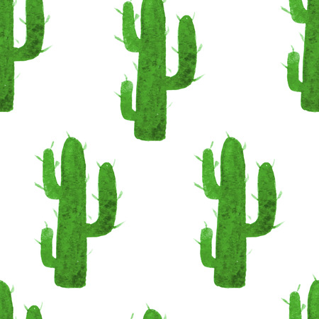 Vector watercolor seamless pattern with hand drawn cactus. Nature ornament. Original background with green cacti. Illustration